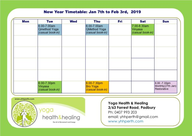 Holiday Timetable Jan 2019