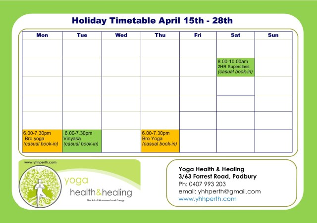Holiday Timetable April week 1&2 2019