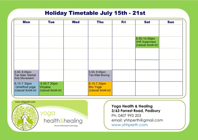 Holiday Timetable July week 2 2019