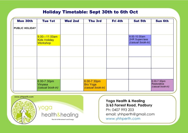 Holiday Timetable Sept 2019 week 1