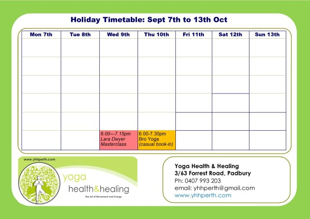 Holiday Timetable Sept 2019 week 2