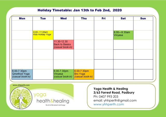 Holiday Timetable Jan 2020