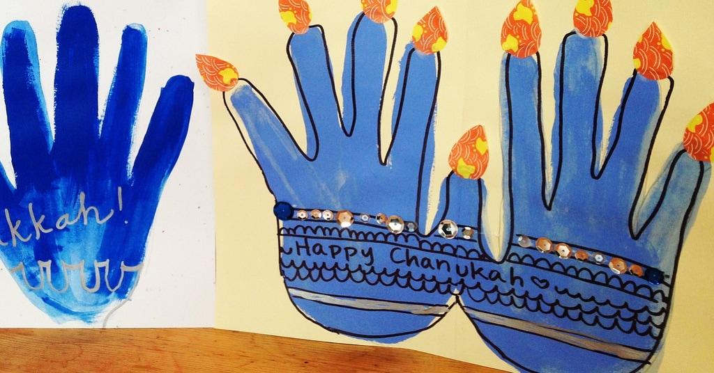 Handprint Menorah craft