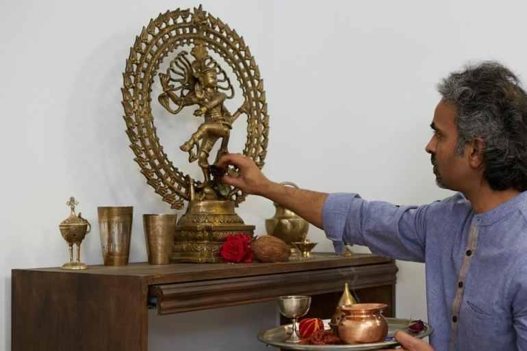 Préparation pour un cours avec puja à nataraja