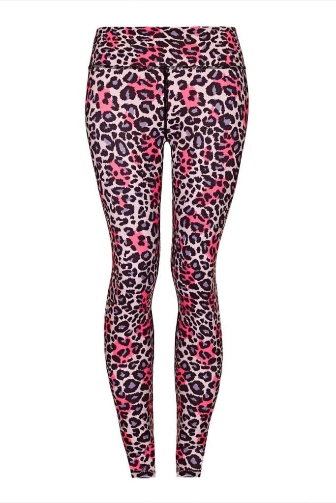 Grey_Pink Leopard Yoga Leggings