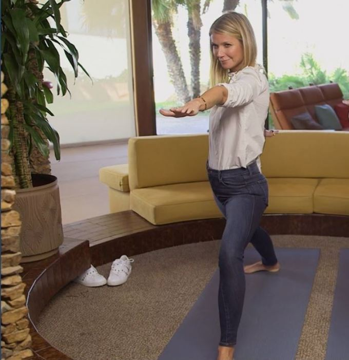 Gwyneth Paltrow doing yoga