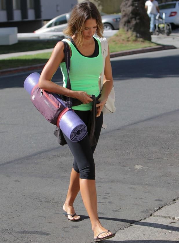 Jessica Alba With Yoga Mat