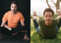 Robert Downey Jr Doing Yoga