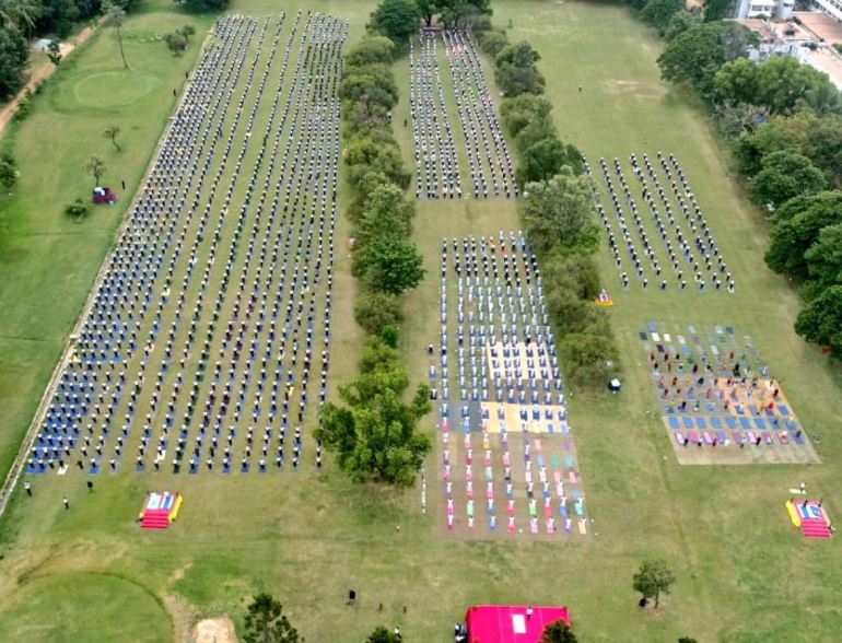 1200 Army in India doing yoga