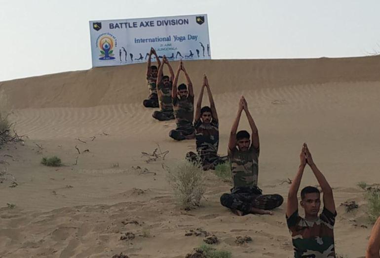 Indian Army Doing Yoga On Desert