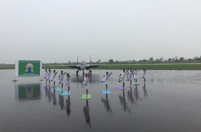 Indian Army Performing Yoga infront of Fighter Jet