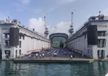 Yoga for Indian Navy on floating dock of the