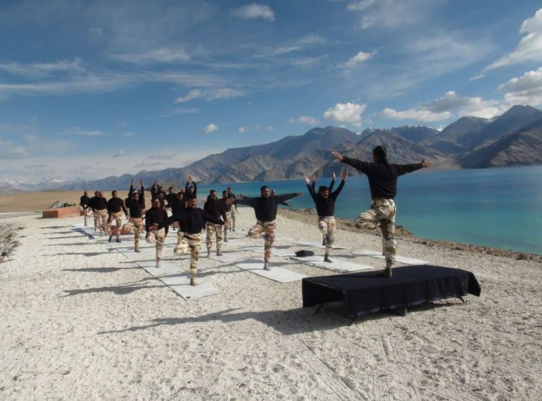 Yoga day celebrations at spectacular locations