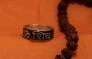 Om Shiva Goraksha Yogi mantra silver ring