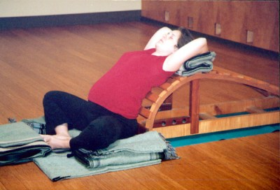 Kathy Digby in Baddha Konasana before giving birth. Photo: Bruce M. Roger, 2008.