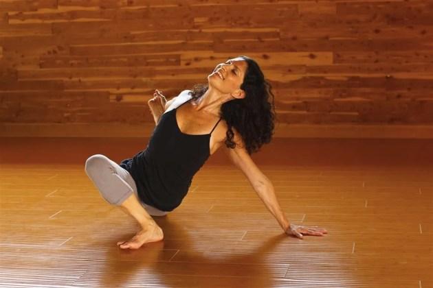 Angelina in her yoga practice