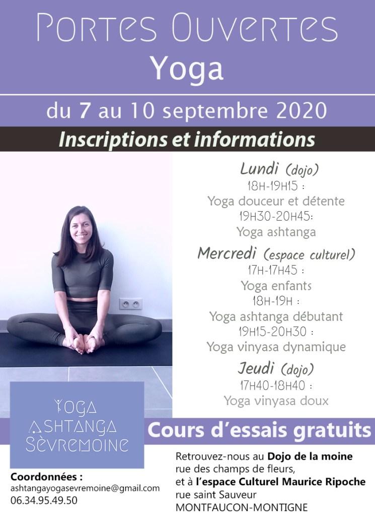 Profitez des portes ouvertes pour venir découvrir les différents cours proposés par l'association Yoga Ashtanga Sèvremoine en 2020-2021.