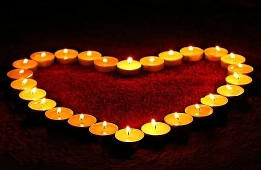 heart formed from tealight candles