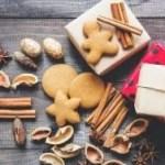 Christmas cookies, nut shells, and cinnamon sticks
