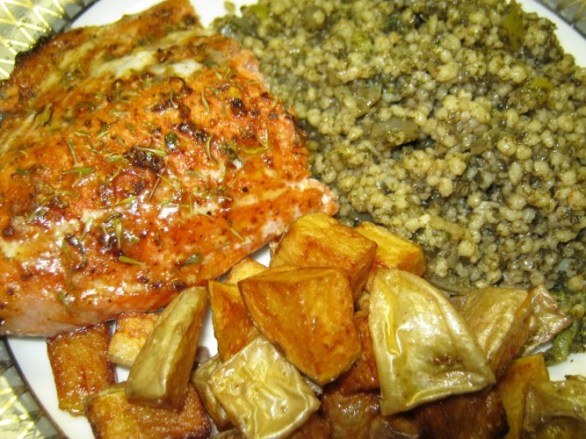 sockeye salmon, couscous tabouli, potato wedges