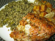 sockeye salmon, couscous tabouli and double fried potato wedges