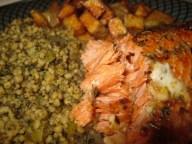 sockeye salmon, couscous tabouli and double fried potato wedges