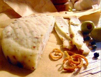 Sliced milk kefir cheese