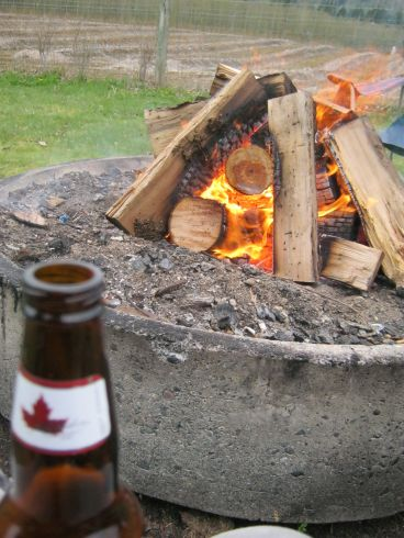 Fire and refreshments after a long day!