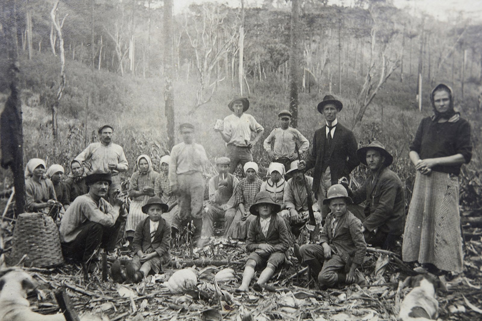 Archival photograph from the family archive of Guizelia De Almeida Wronski, Mallet, Brazil. Polish settlers probably cutting down the forest to build a colony. End of XIX century, exact date unknown.