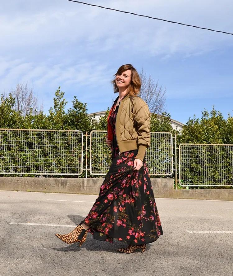 vestido largo de flores de Zara
