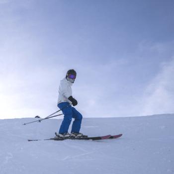 person skiing at kicking horse mountain resort