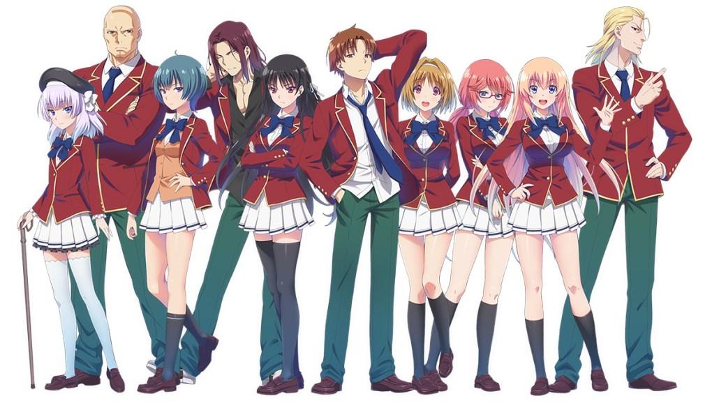 6 mulheres e 4 homens com roupa de colegial vermelha.