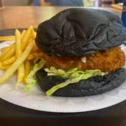 Shrimp Burger with Squid Ink Bun