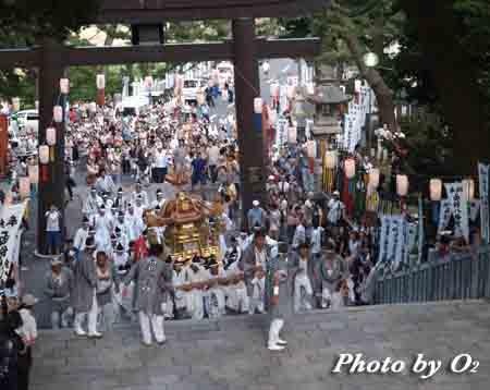函館市 函館八幡宮 渡御祭 大神輿石段かけのぼり