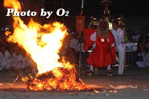 平成20年 古平町 琴平神社例大祭 天狗の火渡り 猿田彦の火渡り