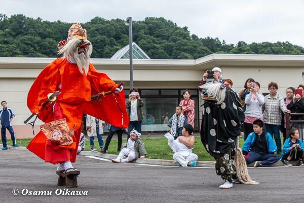 平成30年 美国町 美国神社 例大祭 2日目 猿田彦 天狗と獅子舞の掛け合い