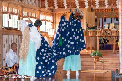 平成30年 函館市 戸井地区 宮川神社 本祭 松前神楽 十二の手獅子舞 獅子の鈴上