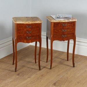French Louis XVI Tulipwood, Kingwood & Marquetry Serpentine Bedsides (Circa 1900)