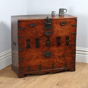 Antique Regency Colonial Elm Campaign Tea Chest (Circa 1820)