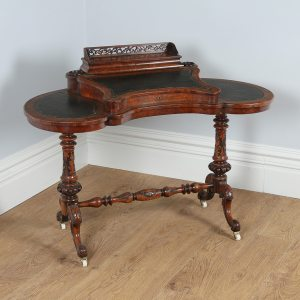 Antique Victorian English Burr Walnut Kidney Shaped Leather Desk (Circa 1860)