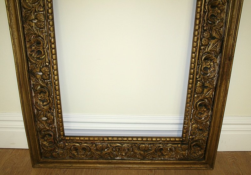 Large Antique Style Carved Ornate Vintage Gilt Wood Mirror