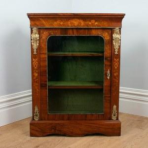 Antique Burr Walnut Inlaid Victorian Pier Cabinet (Circa 1850)