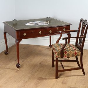 Antique Victorian 4ft Walnut & Leather Partners Library Table (Circa 1910)