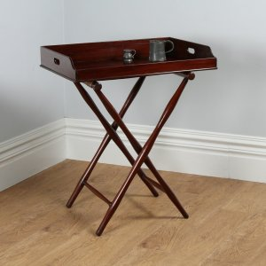 Antique Victorian Mahogany Butlers Drinks Tray Table & Stand (Circa 1850)