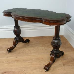 Antique Burr Walnut Green Leather Kidney Shaped Writing Table (Circa 1860)