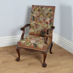 Antique Georgian Chippendale Style Mahogany Gainsborough Armchair (Circa 1890)