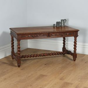 Antique French Provincial Carved Oak Desk Table (Circa 1870) - yolagray.com