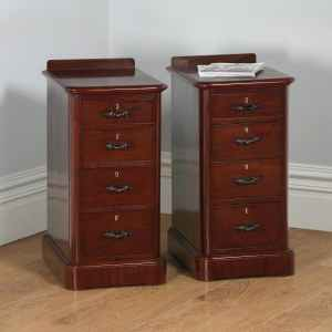 Antique Pair of English Victorian Flame Mahogany Bedside Chests (Circa 1860)- yolagray.com