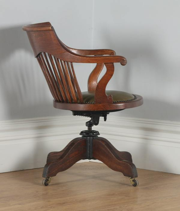 Antique English Victorian Oak Revolving Office Desk Green Leather Arm Chair (Circa 1880)- yolagray.com