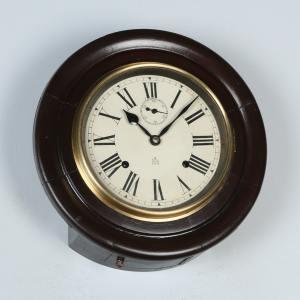 "Antique 12"" Welaiti Mahogany Railway Station / School Round Dial Wall Clock (Chiming) - yolagray.com"